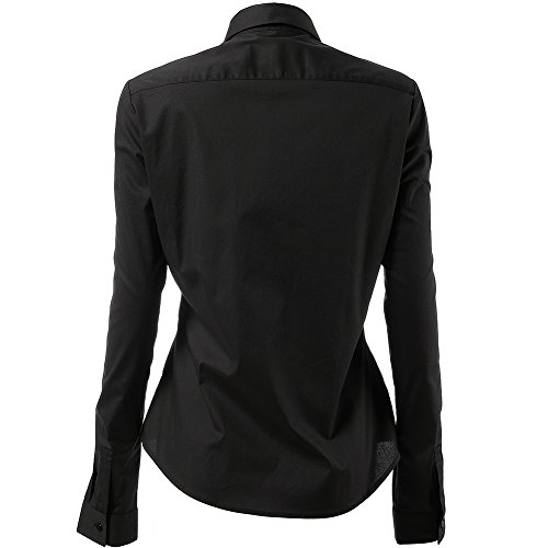 Harrms Shirts for Women Slim Fit Stretchy Cotton Black Button Down Shirts Size 8 by Harrms (Image #2)