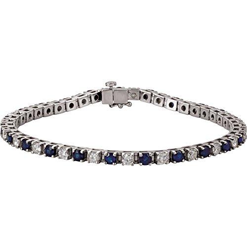 14K White Gold Blue Sapphire & 2 3/8 CTW Diamond Bracelet