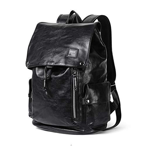 Men's Simple PU Black Backpack Waterproof Business Casual Backpack Student Bag Travel Handbag from Jasooo