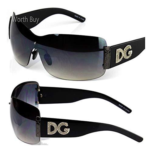DG Rimless Womens Designer Sunglasses Shades Large Oversized Fashion Shield Wrap - Black Dg Oversized Designer Sunglasses