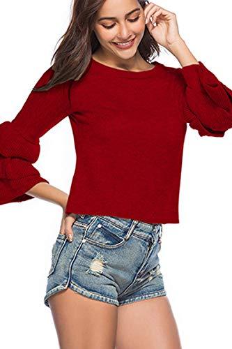 Autunno Autunno Maglioni Maniche Yisaesa Large Casual Rosso Donna Donna Donna Dimensione Crop Tops Girocollo Primavera Colore Viola da qazXRxZ