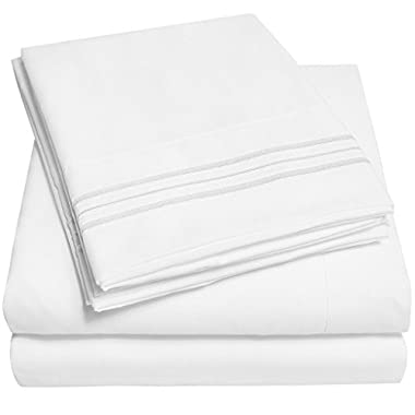 1500 Supreme Collection Bed Sheets - PREMIUM QUALITY BED SHEET SET & LOWEST PRICE, SINCE 2012 - Deep Pocket Wrinkle Free Hypoallergenic Bedding - Over 40+ Colors & Prints - 3 Piece, Twin, White