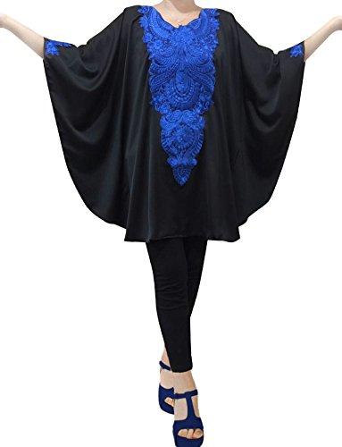 Kaftan Boho Top Long Tunic Knit Dress Blouse T shirt Mini Batwing Plus Size (Black)