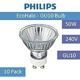 Philips Lot de 10ampoules halogènes de 50W GU10240V ampoule économie d'énergie