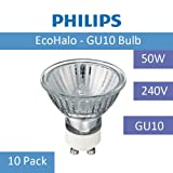 10 Pack of Philips Halogen Twist 50W GU10 240V Energy Saving Light Bulb