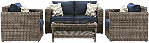 Home Decorators Collection Naples 4 Piece Outdoor Deep Seating Set, 4-Piece Set, Grey Navy