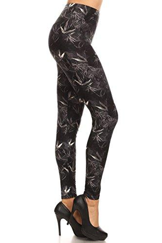 S547-3X5X Leaf Memory Print Fashion Leggings