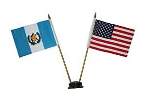 USA & GUATEMALA Small 4 X 6 Inch Mini Double Country Stick Flag Banner with BLACK STAND on a 10 Inch Plastic Pole .. New