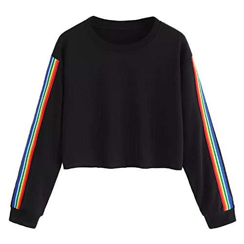 (HGWXX7 Women's Casual Rainbow Stripe O Neck Crop Tops Blouse Pullover Sweatshirt(M,Black))