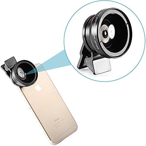 Neewer® HD fotocamera obiettivo kit per iPhone 6Plus/5S, Samsung Galaxy S6/s5, iPad e più: 0,45x 12,5x Super Obiettivo grandangolare + obiettivo macro + Clip Holder + Panno di Pulizia + sacchetto p