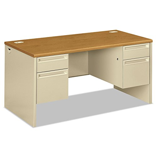 38000 Series Metal - 38000 Series Double Pedestal Desk, 60w x 30d x 29-1/2h, Harvest/Putty