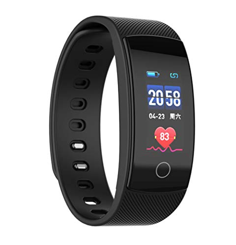 - Color Screen Smart Bracelet, IP 67 Waterproof Heart Rate Monitoring Health Bluetooth Sports Bracelet, Compatible with Android and iOS Men and Women-Black
