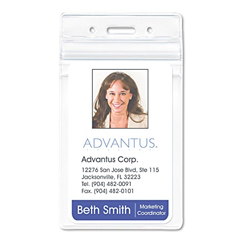 - Advantus 75524 Resealable ID Badge Holder, Vertical, 2 5/8w x 3 3/4h, Clear, 50/Pack
