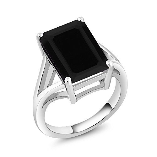 Gem Stone King 925 Sterling Silver Black Onyx Solitaire Ring 5.00 Ct Gemstone Birthstone, 14x10mm Emerald Cut (Available 5,6,7,8,9) (Size 5) ()