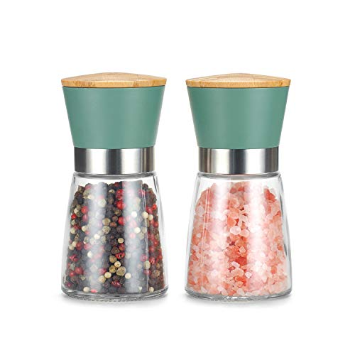 Vucchini Salt and Pepper Grinder Set – Adjustable Stainless Steel Spice Ceramic Grinders Mill Shaker for Kitchen Table…