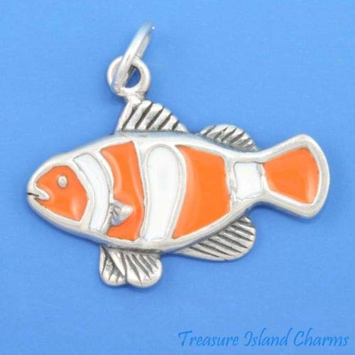 Enamel Clownfish NEMO Clown Fish 925 Sterling Silver Charm Crafting Key Chain Bracelet Necklace Jewelry Accessories Pendants