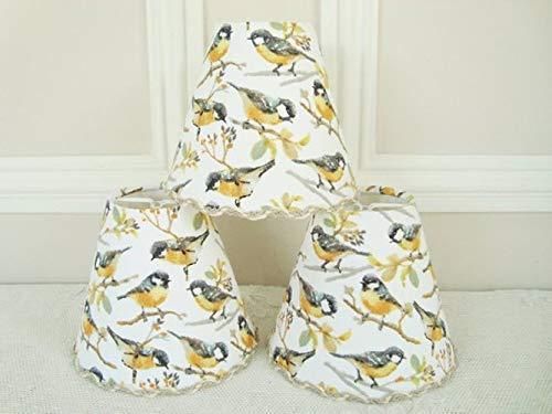 Abat-jour tissu oiseaux fixation clip pour applique lustre esprit campagne, Mé sange charbonniè re noir et jaune Mésange charbonnière noir et jaune