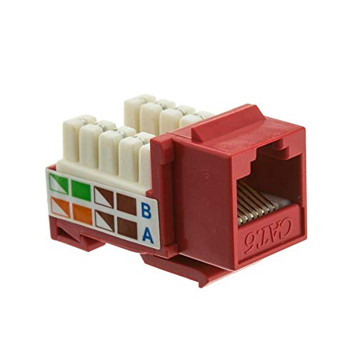 - GOWOS (50-Pack) Cat6 Keystone Jack, Red, RJ45 Female to 110 Punch Down