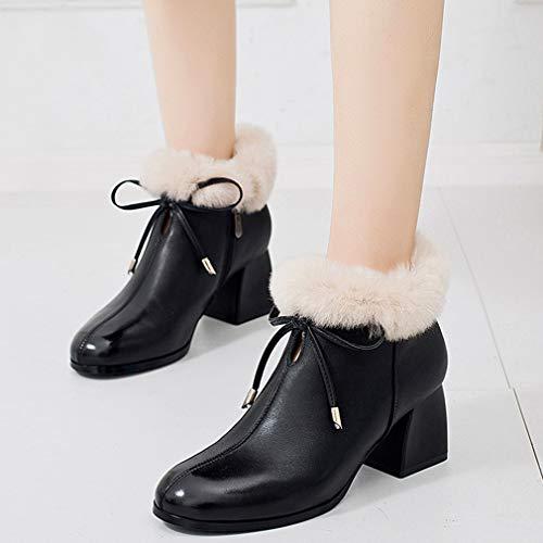 Con Y Punta Invierno Mujer Botines Cremallera Tacón Tacones Para Moda De Alto En Negro Tobillo Mujer Yan Botas Zapatos Antideslizantes BAFwPqq