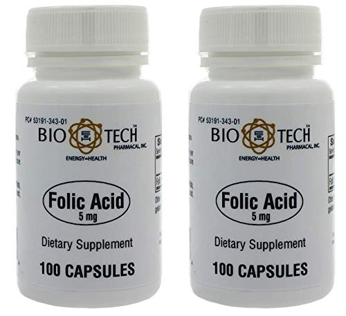 Folic Acid 5mg – BioTech Pharmacal – 100 Capsules – Pack of 2 Bottles by BioTech Pharma