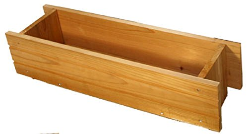 Rectangular Wooden Window Planter - made from Red Cedar Wood, natural, heavy-duty - (Cedarwood Window Box)