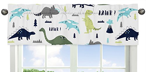 Sweet Jojo Designs Window Treatment Valance for Blue and Green Modern Dinosaur Collection from Sweet Jojo Designs