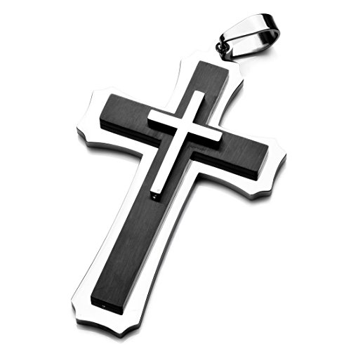 Steel Cross Stainless Large - INBLUE Men's Large Stainless Steel Pendant Necklace Silver Tone Black Cross -with 23 inch Chain