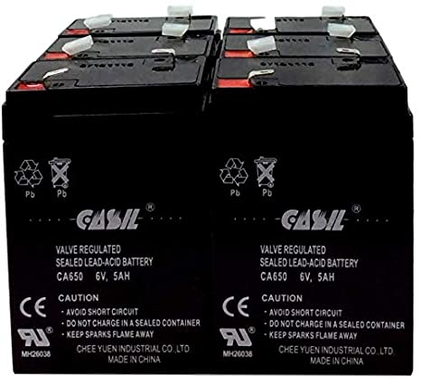12 Pack Casil 6v 5ah 4.5ah 4ah UPS Battery for Easy Options 250VA Elgar IPS400 Hubbell PUPXXXX Lithonia ELB06042 Waber Powerhouse 420T Waber Upstart Sure Light CA System Power Specialist LCR6V4BP