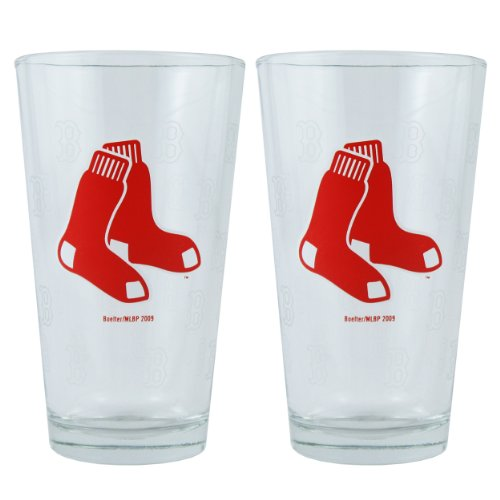 MLB Boston Red Sox Boelter Pint Glasses 2-Pack (Sox Mlb Glass)