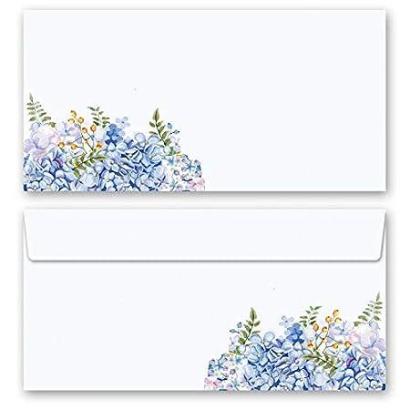 DIN A5 Format 50 Blatt Motiv-Briefpapier BLAUE HORTENSIEN
