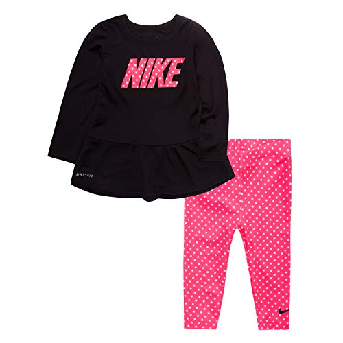 NIKE Children's Apparel Girls' Toddler Long Sleeve Top and Leggings 2-Piece Set, Pink Nebula Dots, 3T