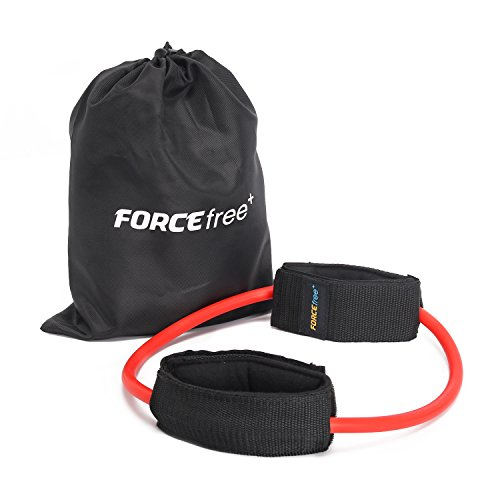 Forcefree+ Leg Resistance Band, Heavy Duty Tube with Padded Ankle Cuffs, Ankle Exercise Band for Lower Body Workout, Red, 30 (Red Ankle Cuff)