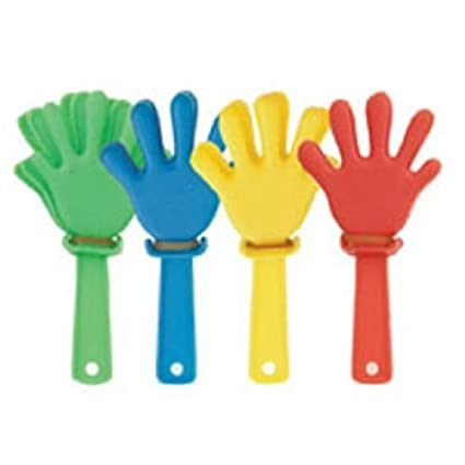 12 Mini Hand Clappers ~ Party bag filler toys Partyrama 74085UNQ-tys-2-B