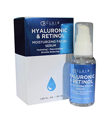 CB Clair Hyaluronic Acid and Retinol Moisturizing Facial Serum, Hydrating Rejuvenating and Wrinkle Reducing 1.69 Oz from Clair Beauty