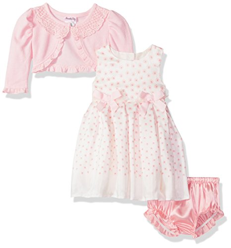 Baby Shrug - Nannette Baby Girls' Ivory Shantung Dress with Satin Bows Peach Novelty Shrug and Matching Panty, Soft Coral, 12 Months