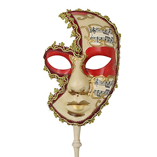 Hophen Hand Held Venetian Masquerade Mask on a Stick Halloween Mardi Gras Party Carnival Mask Prom (Red Music) -
