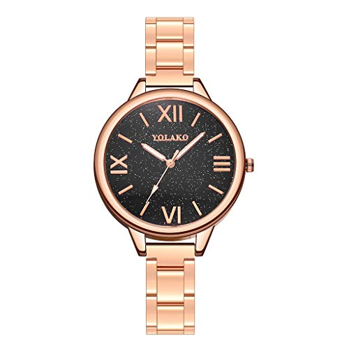 (WoCoo Watch, Analog Quartz Romans numerals Dial Wristwatch with Luxury Business Steel Strip,Gifts for Girls Ladies,Her(Rose Gold,C))