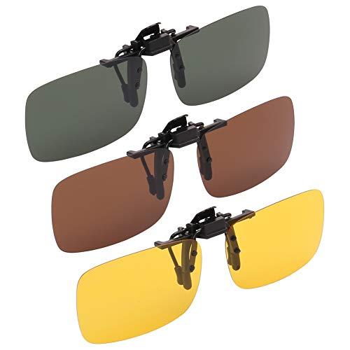 H&S 3 x Clip on Sunglasses Polarised Flip Up fit Sunglasses Glasses Eyeglass for...