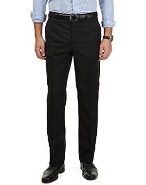 Men's Travel Wear Flat Front Dress Pants Black 30W x 30L