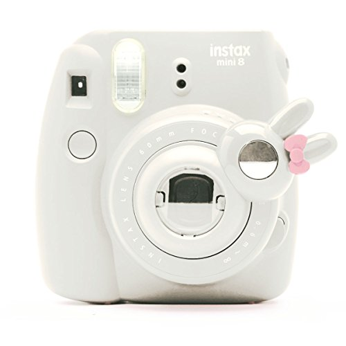 Cute Bunny Selfie And Close Up Lens Shot Mirror For Fujifilm Instax Mini 8 Mini 9 Polaroid PIC-300 Hellokitty Instant Camera (White Bunny)