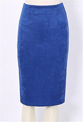 Femme Genou Jupe Suede Plusieurs AILIENT Crayon Classique Coloris Rtro Jupe Elgant blue Jupe Court Crayon FW4pWS8
