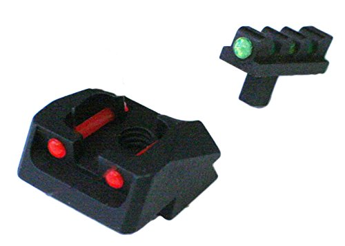 1911 Mil Spec, 70 Series Style Fixed Fiber Optic Sight Set Red Rear, Green (Island Fusion)