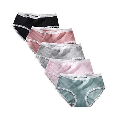 (Women's Cotton Brief Underwear Soft Panties Lace Trim Plus Size Hipster)