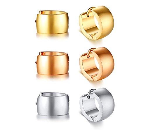 Pack of 3 Unisex Stainless Steel Polished Small Huggie Huggy Hoop Earrings for Men Women