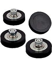 MUTUACTOR 4 sets met rubber beklede magneetpot Sterke neodymium magnetische basis met M6 buitendraadbout, ronde schijf Magnetics Verticale magnetische trekkracht 18,0 kg