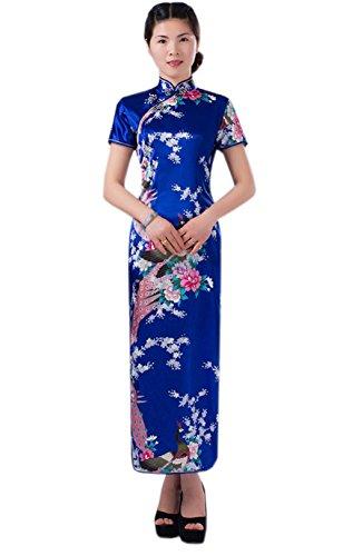 Chinese Dress (Women Vintage Peacock Short Sleeve Long Qipao Dress Chinese Clothing Navy)