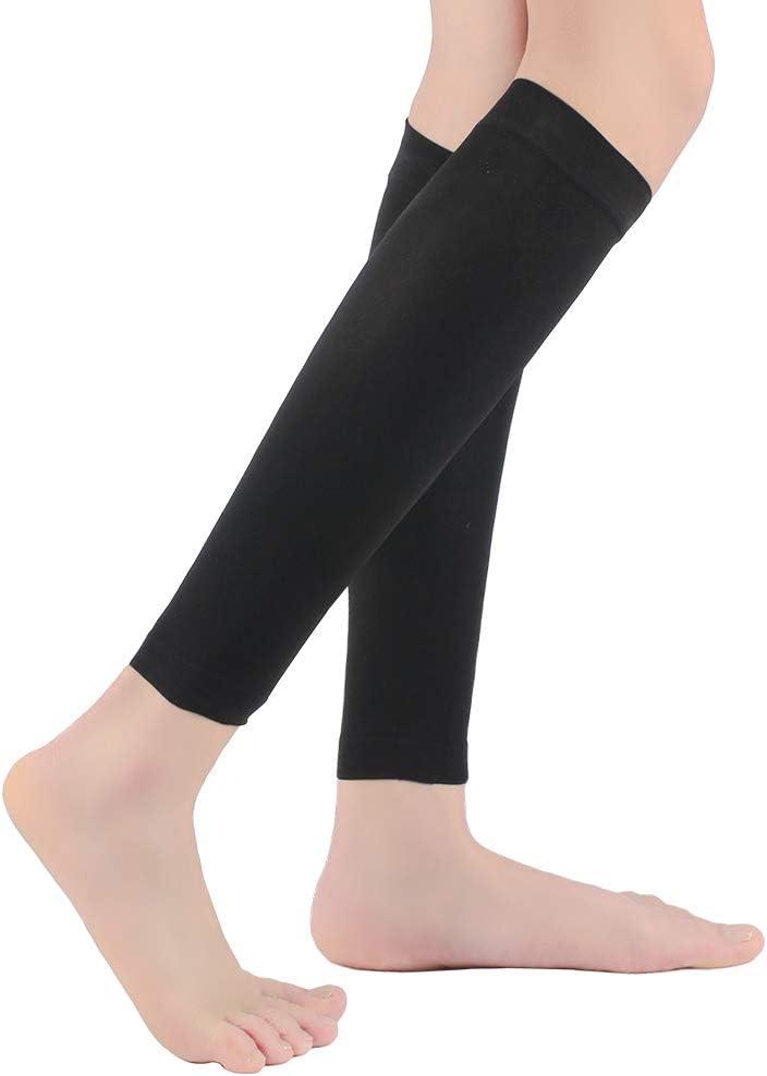 Shin Splint Calf Compression Sleeves Swelling 1 Pair for Unisex Calf Pain Relief KEKING Leg Compression Socks 20-30mmHg Strong Calf Support Beige L Varicose Veins Lightweight Maternity DVT