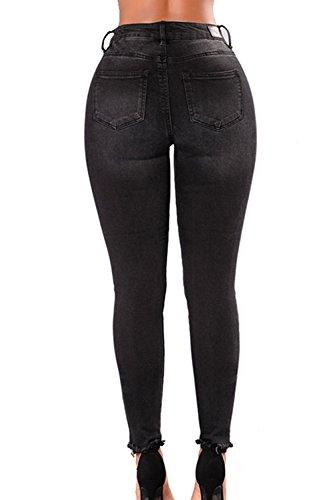 Matita Donne Di Eta Mezza Jeans Denim Magro Lungo 'vita Black Pantaloni Le Afflitto A RaA47Rf