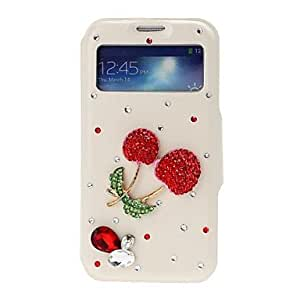 RC - DIY 3D Red Cherry with Rhinestone Pattern Full Body Leather Case with Stand for Samsung Galaxy S4 i9500