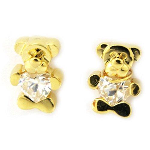 Les Trésors De Lily [G2002] - Boucles Plaqué Or 'Teddy Love' blanc